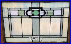 1 of 12 Antique Arts & Crafts Stained Leaded Glass Transom Window 32 by 23