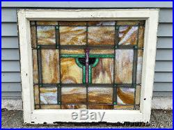 1 of 2 Antique 1920s Chicago Stained Leaded Glass Window 28 by 25