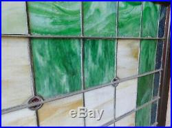 1800's Leaded STAINED GLASS Church Window VICTORIAN Style Wood Frame ORNATE