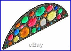 1880's ARCH TOP LEADED GLASS TRANSOM WINDOW FRAGMENT With SEVERAL FACETED JEWELS