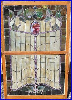 1890s Architectural Antique Art Nouveau Double Hung Stained Glass Window