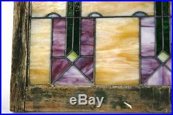 1920's STAINED GLASS WINDOW LEADED ORIGINAL NO CRACKS 32X36 EXCELLENT CONDITION
