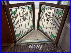 2 Antique 1920's Chicago Bungalow Style Stained Leaded Glass Windows 32 x 30
