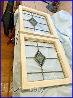 (2) Vtg Stained Glass Windows Leaded Architectural Salvage Primitive Framed