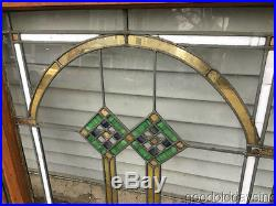 2 of 9 Antique 1920's Chicago Bungalow Stained Leaded Glass Windows 33 1/2 x 27