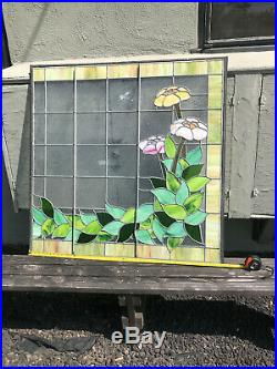 2 piece Antique Victorian Home Stained Glass Windows Large 47 by 46.25