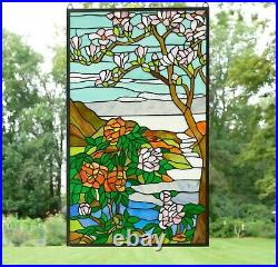 20.5 x 34.25 Handcrafted stained glass Jeweled window panel Cherry Blossom