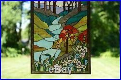 20 x 34 Handcrafted stained glass window panel Deer Drinking Water, TMI446