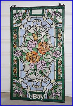 20 x 34Rose Flower Tiffany Style stained glass window panel