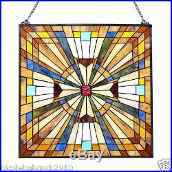 24 SPARKLING JEWELED STAINED GLASS WINDOW PANEL With FLARE MISSION COLLECTION