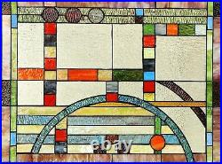 25 x 17.5 Mission Lunes Tiffany Style Stained Glass Window Panel