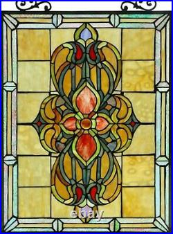 25 x 18 Floral Infinity Tiffany Style Stained Glass Window Panel with Chain