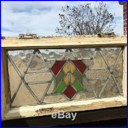 31705 Antique Stained Glass Window w Frame Architectural salvage Circa 1870s