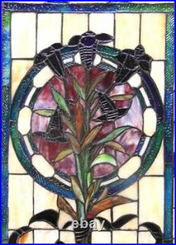 32 x 20 Floral Boquet Tiffany Style Stained Glass Window Panel with Chain