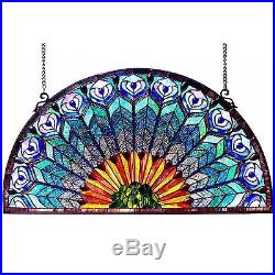 35 Wide Large Peacock Design Half Round Circle Stained Glass Window Panel