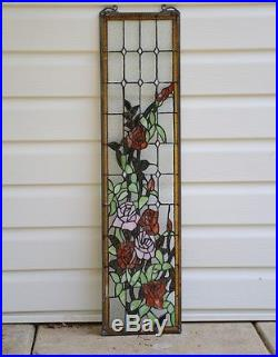 9 x 36 Tiffany Style stained glass window panel Rose Flowers