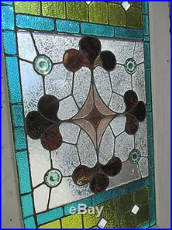 ANTIQUE AMERICAN STAINED GLASS DOOR 34 x 90.75 ARCHITECTURAL SALVAGE