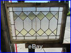 ANTIQUE AMERICAN STAINED GLASS TRANSOM WINDOW 31 x 22 ARCHITECTURAL SALVAGE