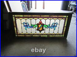 ANTIQUE AMERICAN STAINED GLASS TRANSOM WINDOW 40 x 19 SALVAGE
