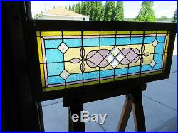 ANTIQUE AMERICAN STAINED GLASS TRANSOM WINDOW 48 x 20 ARCHITECTURAL SALVAGE