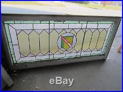 ANTIQUE AMERICAN STAINED GLASS TRANSOM WINDOW ARTS & CRAFTS 23x48 SALVAGE