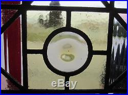 ANTIQUE AMERICAN STAINED GLASS WINDOW 17.25 x 85.75 ARCHITECTURAL SALVAGE