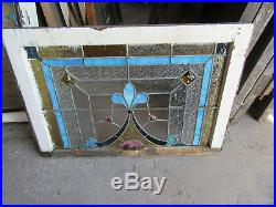 ANTIQUE AMERICAN STAINED GLASS WINDOW 34 x 23 ARCHITECTURAL SALVAGE
