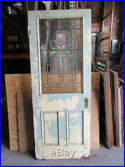 ANTIQUE DOOR WITH STAINED GLASS 31.5 x 80.5 ARCHITECTURAL SALVAGE