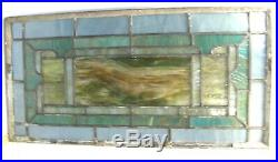 ANTIQUE LEADED STAINED PAINTED GLASS TRANSOM WINDOW SLAG 28.5x14.5 IRON FRAME