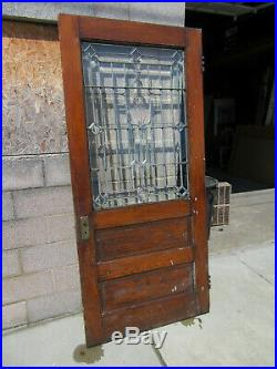ANTIQUE OAK DOOR WITH BEVELED LEADED GLASS 38 x 83 ARCHITECTURAL SALVAGE