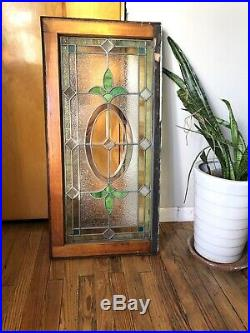 ANTIQUE ORIGINAL STAINED LEADED GLASS WINDOW, EARLY 1900s, PA COAL TOWN