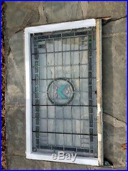 ANTIQUE SHIELDED STAINED GLASS WINDOW SCRANTON GOTHIC TUDOR MANSION 1800s XLARGE