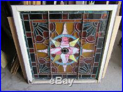 ANTIQUE STAINED GLASS LANDING WINDOW 42 x 42 ARCHITECTURAL SALVAGE