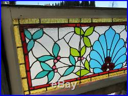 ANTIQUE STAINED GLASS TRANSOM WINDOW 15 JEWELS 48 x 20 ARCHITECTURAL SALVAGE