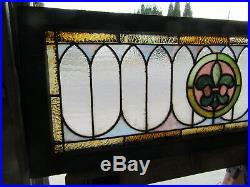 ANTIQUE STAINED GLASS TRANSOM WINDOW 43.75 x 16 ARCHITECTURAL SALVAGE