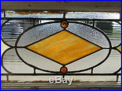 ANTIQUE STAINED GLASS TRANSOM WINDOW 43 x 16 ARCHITECTURAL SALVAGE