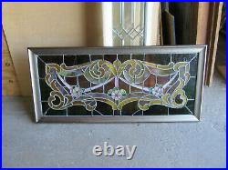 ANTIQUE STAINED GLASS TRANSOM WINDOW 50 x 23 ARCHITECTURAL SALVAGE