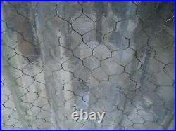 ANTIQUE Wicked COOL Corrugated CHICKEN WIRE GLASS 42 x 27-5/8 x 1/2