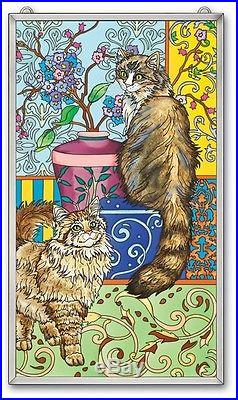 Amia Stained Glass 13 X 23 Suncatcher Tapestry Cats Window Panel #41185