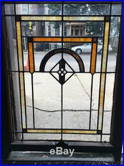 Antique 1920's Chicago Bungalow Stained Leaded Glass Window 32 by 24