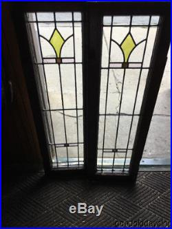 Antique 1920's Stained Leaded Glass Doors / Window 43 by 13