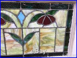 Antique 1920's Stained Leaded Glass Transom Window 28 by 19