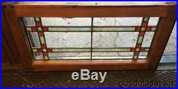 Antique 1920's Stained Leaded Glass Transom Window Red & Blue 28 x 14
