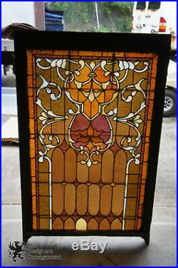 Antique 19th Century Reclaimed Stained Glass Church Windows Wall Hanging 51