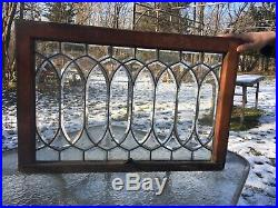 Antique American Oval Heavy Beveled Geometric Leaded Window 1920s For Your Home