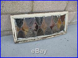 Antique American Stained Glass Transom Window 26x11.5 Architectural Salvage