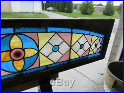Antique American Stained Glass Transom Window 66 X 16 Architectural Salvage