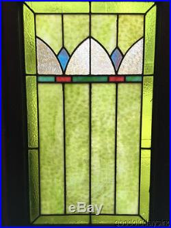 Antique Art Deco Stained Leaded Glass Window 33 by 20 Circa 1925