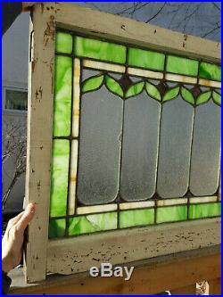 Antique Arts & Crafts Stained Glass Window 25x30