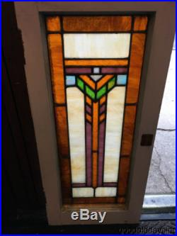 Antique Arts & Crafts Stained Leaded Glass Window 31 by 14 Circa 1915